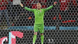 Denmark's goalkeeper Kasper Schmeichel was targeted with a laser pointer moments before Harry Kane scored the winning goal for England on Wednesday