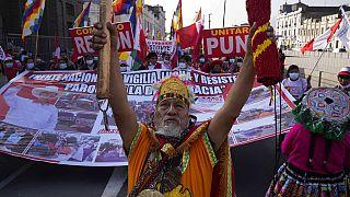 Marcha en apoyo del candidato presidencial Pedro Castillo