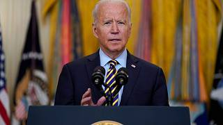 President Joe Biden speaks about the American troop withdrawal from Afghanistan, in the East Room of the White House,