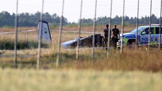 Emergency services at the scene of small aircraft crash, at Orebro Airport in Sweden, Thursday, July 8 2021.