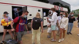 Los jóvenes belgas repatriados desde España