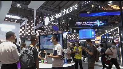 Visitors at the World AI Conference in Shanghai, China, Thursday, July 8, 2021.