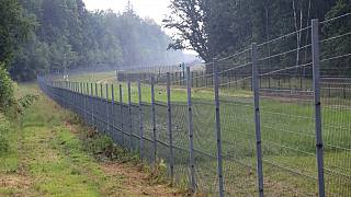The Padvarionys border fence in Medininkai, separating Lithuania and Belarus.