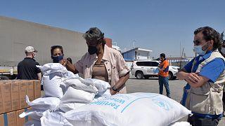 سفير الولايات المتحدة لدى الأمم المتحدة يفحص مواد الإغاثة عند معبر باب الهوى الحدودي بين تركيا وسوريا.