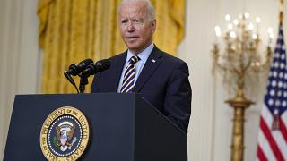 President Joe Biden speaks about the American troop withdrawal from Afghanistan, in the East Room of the White House, July 8, 2021.