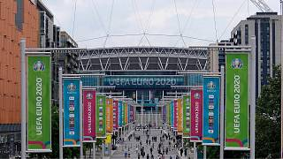 A view of Wembley stadium in London