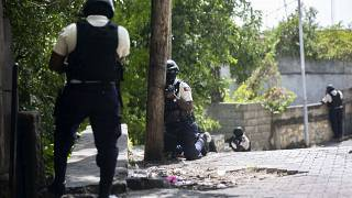Police search the Morne Calvaire district of Petion Ville for suspects still at large in the murder of Haitian President Jovenel Moise in Port-au-Prince, Haiti, July 9, 2021