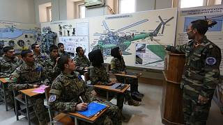 new Afghan air force pilots attend class at the air force university in Kabul