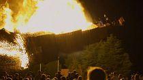 North Ireland loyalists light bonfires at start of marching season