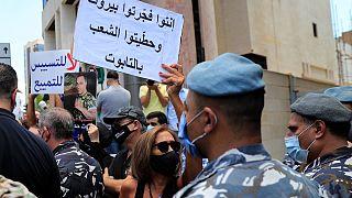 جانب من المظاهرات عند مقر إقامة رئيس مجلس النواب اللبناني نبيه بري