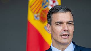 Spain's Prime Minister Pedro Sanchez during a visit to Lithuania on July 8, 2021.