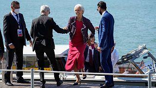 Christine Lagarde, presidente do BCE, à chegada a Veneza para o G20