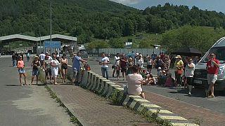 Protesta en la frontera eslovaca