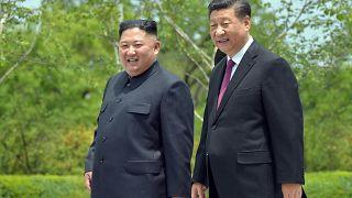 الرئيس الصيني مع نظيرة الكوري الشمالي في بيونغ يانغ. 2019/06/21