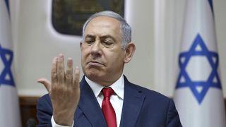 رئيس وزراء إسرائيل السابق بنيامين نتنياهو خلال جلسة الحكومة في القدس. 07/07/2019