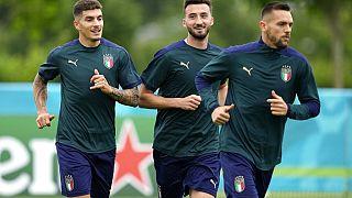 Des joueurs de l'équipe italienne à l'entraînement à Londres, la veille de la finale de l'Euro 2020 contre l'Angleterre.