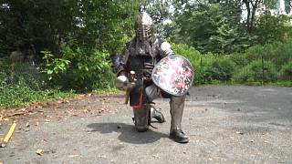 Knight kneeling before the fight