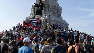 Anti-government protesters gather at the Maximo Gomez monument in Havana, Cuba