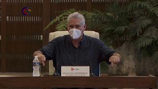 El presidente de Cuba, Miguel Dáz-Canel llamó a combatir las protestas