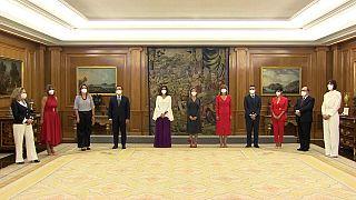 El nuevo agbinete de Pedro Sánchez, este lunes en el palacio de la Zarzuela