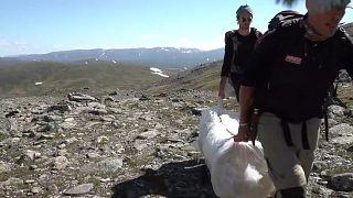 Glaciar da Suécia protegido com lonas para abrandar derretimento