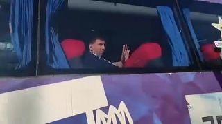 Leo Messi en el bus a su llegada a Buenos Aires