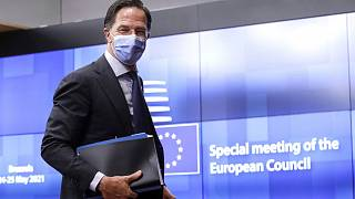 Mark Rutte pictured arriving for an EU summit in Brussels in May.