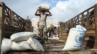 File photo of food aid from the World Food Program (WFP) in Mogadishu, Somalia