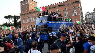 Retour de l'équipe nationale de football italienne à Rome, 12 juillet 2021
