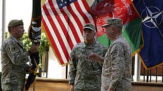 Cérémonie de départ du commandant des forces américaines et de l'OTAN en Afghanistan, le général Austin Scott Miller, Kaboul, Irak, 12 juillet 2021.