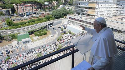 Pope Francis leading prayer last Sunday from the balcony of his room, at the Gemelli Hospital, in Rome, where he is recovering from colon surgery.