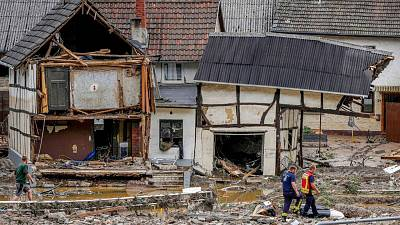 Destroyed houses are seen in Schuld, Germany, Thursday, July 15, 2021.