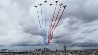 French Air Force Patrouille de France perform during a rehearsal for the Bastille Day parade in Paris Monday, July 12, 2021
