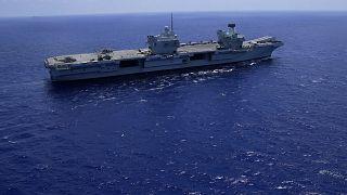 U.K.'s aircraft carrier HMS Queen Elizabeth in the Mediterranean Sea