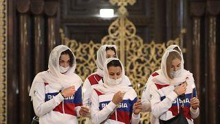 Члены сборной России в Храме Христа Спасителя перед отъездом в Японию