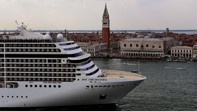 Ships passing through Venice