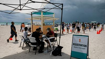 A pop-up vaccination center administering Johnson & Johnson single-doses in South Beach, Florida