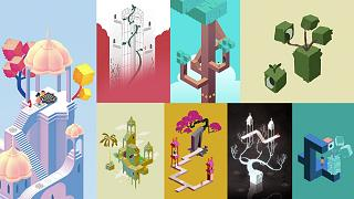 A collage of gameplay from Monument Valley II.