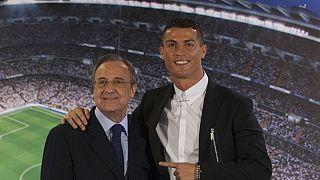 فلورنتینو پرز، رئیس باشگاه رئال مادرید به همراه کریستیانو رونالدو