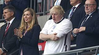 İngiltere Başbakanı Boris Johnson Wembley stadyumunda EURO 2020 final maçını izliyor. 11 Temmuz 2021