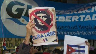 Manifestación en Argentina en contra del gobierno cubano