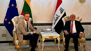 وزير الخارجية العراقي فؤاد حسين يستقبل وزير الخارجية الليتواني غابريليوس لاندسبيرغيس في بغداد، العراق، الخميس 15 يوليو 2021