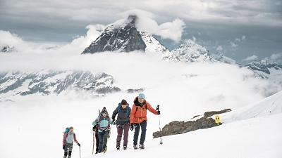 The clouds clear away briefly, enabling the iconic Matterhorn to come into view
