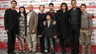 """Roma, novembre 2011: De Rienzo, al centro della foto, durante la presentazione di """"La Kryptonite nella borsa"""" al Rome international film festival"""