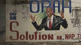 Mural con un dibujo del presidente de Haití, Jovenel Moïse, asesinado el pasado 7 de julio.