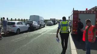 pics of the massive car pileup on eastbound A2 Bucharest-Constanta motorway