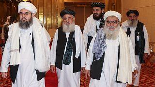 Delegación de los talibanes que participa en las negociaciones de paz