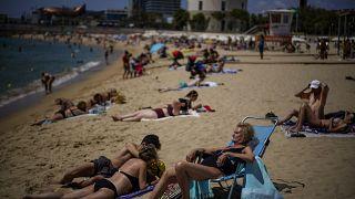 Une plage de Barcelone, le 09 juillet 2021