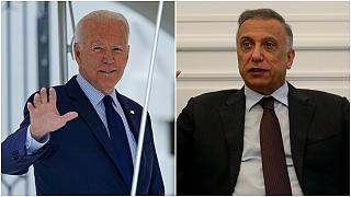 رئيس الوزراء العراقي مصطفى الكاظمي والرئيس الأمريكي جو بايدن