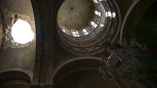 Die zerstörte Kathedrale von Schuscha im Oktober 2020.